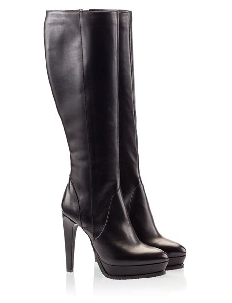 black high heel boots leather logan vitello leather high heel platform knee boots