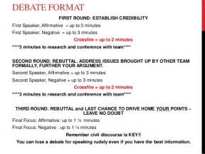 Debate Essay Format by Huckabee Debate Notes And Format 3 W Rubric 2