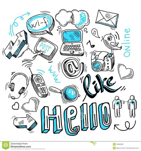 doodle guide 170 elements doodle social media signs stock vector illustration of