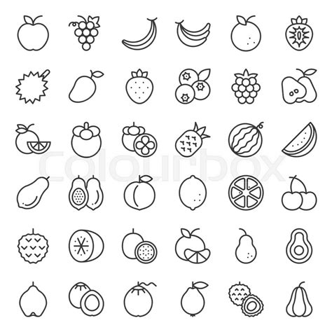 cute fruit outline icon set   stock vector