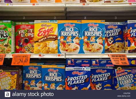 Supermarket Box boxes of kellogg s breakfast cereals in a supermarket in new york on stock photo royalty free