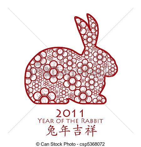 clipart new year rabbit clip of year of the rabbit 2011 flower year