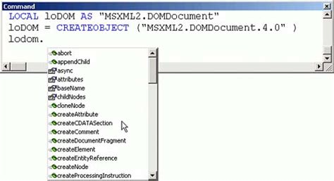 Xml Dom Document Msxml3 Dll the document object model visual foxpro to visual basic net