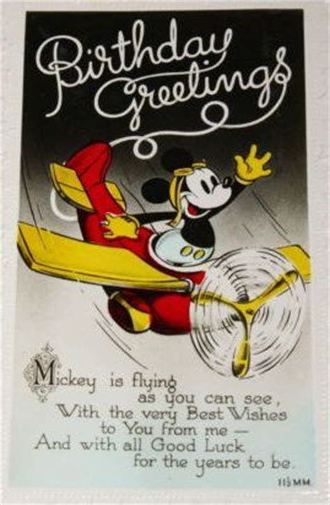 Mickey Mouse Wishing Happy Birthday Mickey Mouse Birthday Greetings Vintage Postcards And