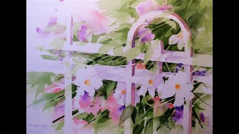 garden gate transparent watercolor negative painting