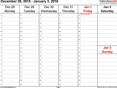 printable daily planner january 2016 weekly calendar 2016 for word 12 free printable templates