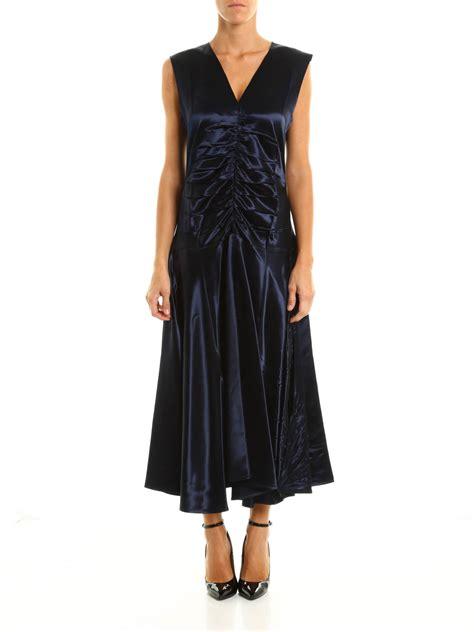 Glossy Dress glossy satin wrinkled midi dress by c 233 line maxi dresses
