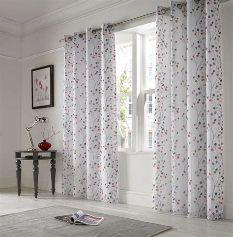 white lined voile curtains linen look floral red white lined ring top voile curtains