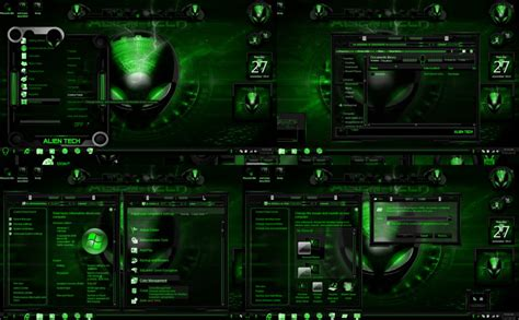 themes games for windows 7 windows 7 themes alien tech green by customizewin7 on
