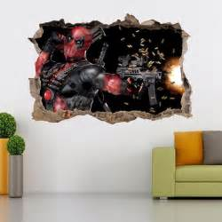 deadpool smashed wall decal graphic wall sticker home