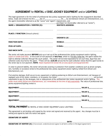 Dj Equipment Rental Contract Template Sle Dj Contract Form 8 Free Documents In Pdf Doc