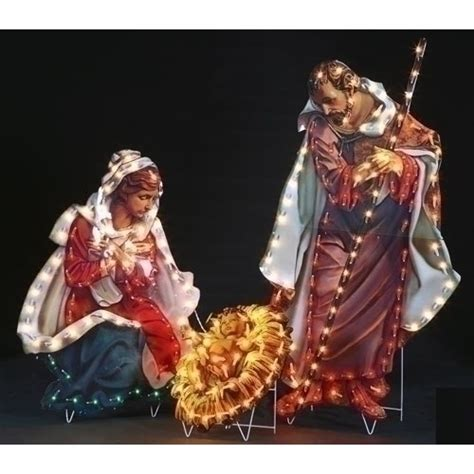 3 pc holographic lighted christmas outdoor nativity scene set fontanini holy family outdoor lighted display 48 quot 3 set the catholic company