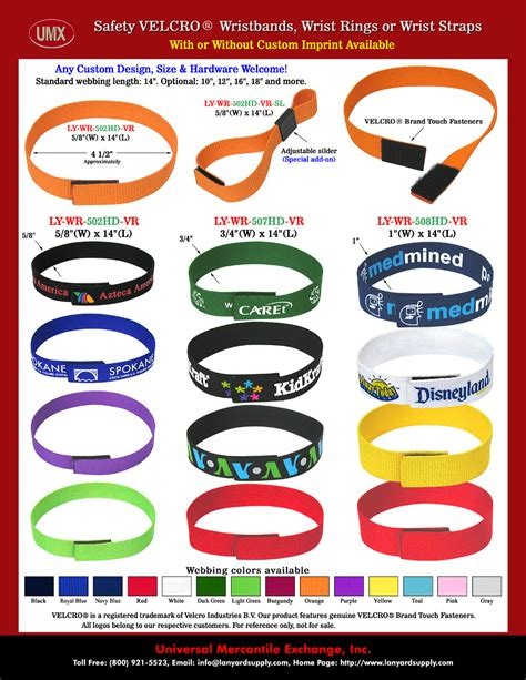 "5/8"",3/4"" and 1"" Plain Color Velcro Safety Wrist Band, Woven Web Strap or Ring Lanyards Without"