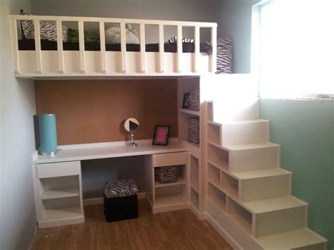 loft bed  desk  shelves  stairs camas