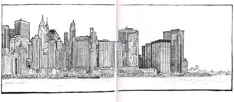 Sketches Nyc by Manhattan Skyline From Jersey City Sketch November 2012