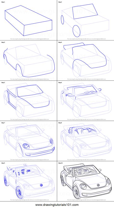 how to draw a convertible step by step cars draw cars how to draw volkswagen beetle convertible printable step