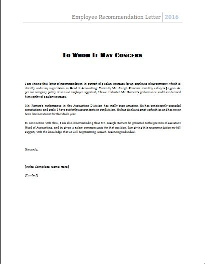 Letter Of Recommendation Word Doc ms word employee recommendation letter template word