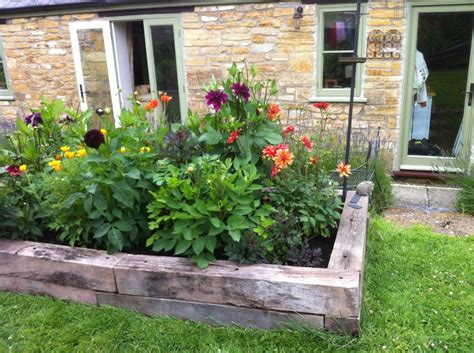 raised flower bed melisa s raised railway sleeper vegetable bed