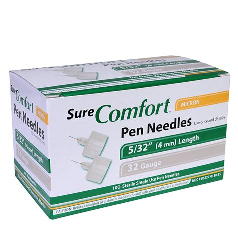 sure comfort pen needles buy surecomfort 4mm pen needles 32g 100 per box online
