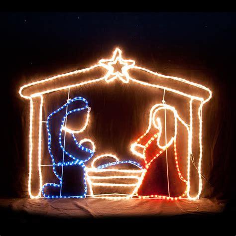 jesus outside christmas lights led nativity motif rope light display 613739670385 ebay