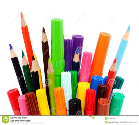 markers and colored pencils colorful pencils and markers royalty free stock photos