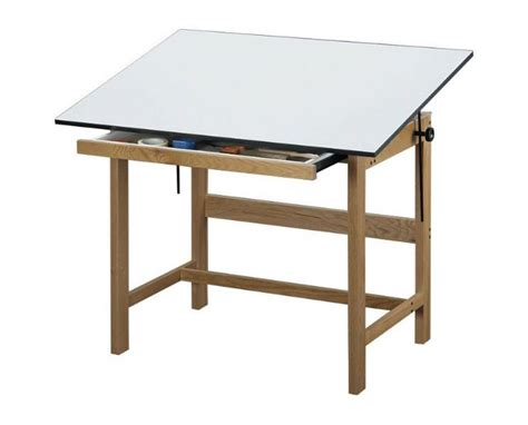 Solid Wood Drafting Table Alvin Titan Solid Oak Wood Drafting Table With Drawer Tiger Supplies