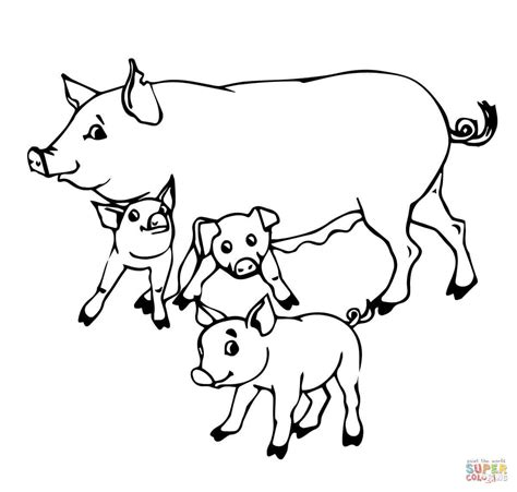 pig mother and baby pigs coloring online super coloring