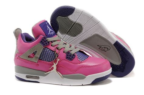 jordans shoes for kid children nike air 4 cushion pink purple grey white