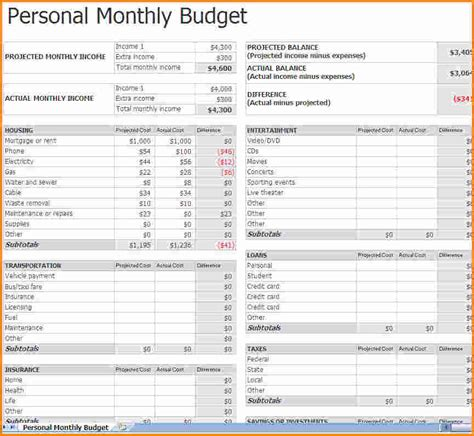 Fillable Monthly Budget Worksheet