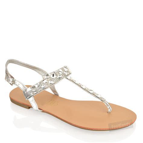 womens holidays womens flat gladiator diamonte toe post summer sandals size ebay
