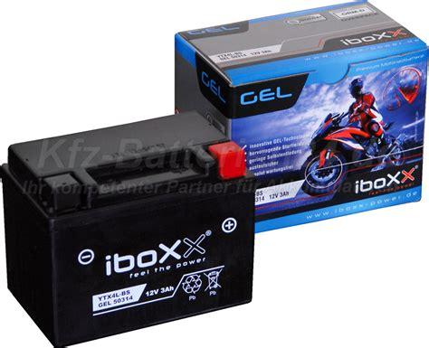 Motorradbatterie 12v 3ah motorradbatterie ytx4l bs iboxx gel 50314 12v 3ah