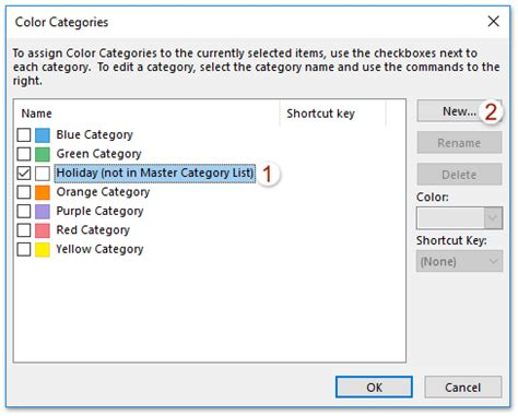 color categories how to highlight all holidays in an outlook calendar
