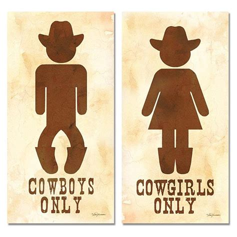 his hers bathroom signs two cowboy and cowgirl his hers bathroom sign posters 8x16 ebay