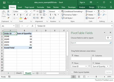 pivot table exle data ms excel 2016 how to change data source for a pivot table