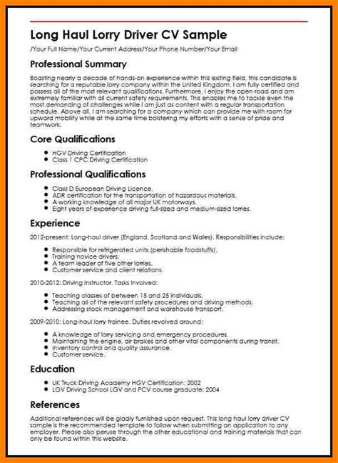 Driver Resume Sle In Word Format Curriculum Vitae For Driver 28 Images Mohammad Zahid