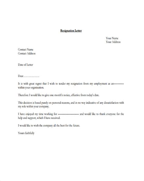 Resignation Letter Exles With Regret 4 Resignation Letter With Regret Template 5 Free Word Pdf Format Free Premium