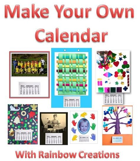 calendars for children to make rainbow creations and craft for children
