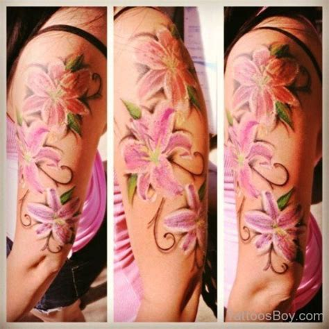 lily quarter sleeve tattoo flower tattoos tattoo designs tattoo pictures page 46