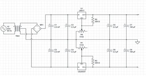24 volts power supply circuit diagram 24v dual regulated power supply electrical engineering