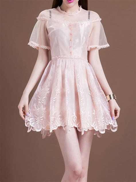 Pastel Dress2 floral embroidery organza skater dress in pastel pink abaday