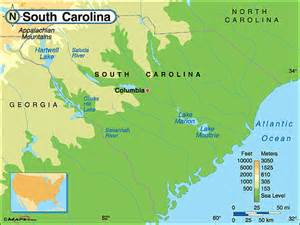 south carolina physical map by maps from maps