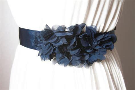 Dress Navy Flower With Belt bridal navy blue chiffon flower sash belt wedding dress