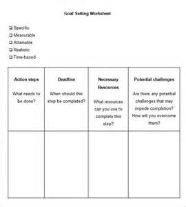 Template For Goal Setting Worksheet by 5 Goal Setting Worksheet Templates Free Word Pdf