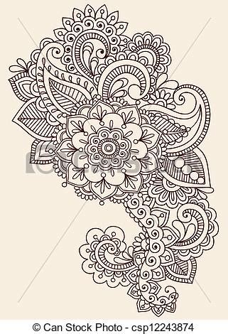 vectors illustration of henna mehndi tattoo doodle design