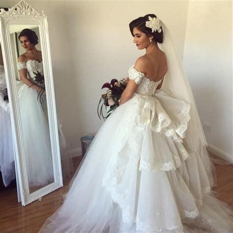 hochzeitskleid halblang the shoulder wedding dress tulle gown