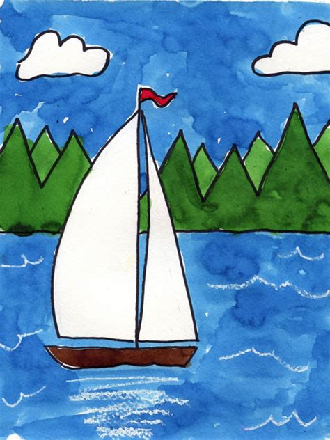 sailboat zig zag sailboat on a lake art projects for kids