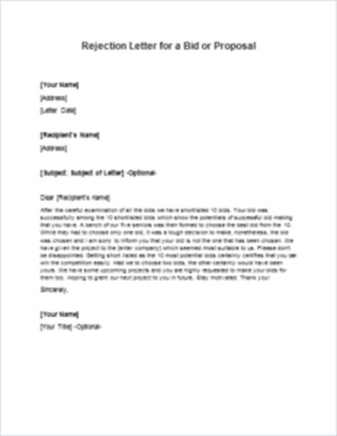 Decline Letter Bidding Rejection Letter For A Bid Or Writeletter2