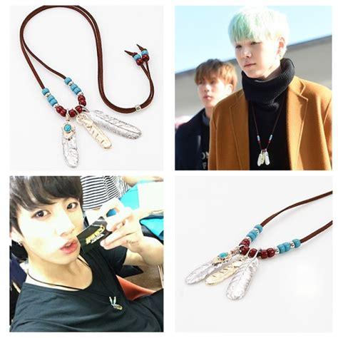 BTS / Bangtan Boys Suga GOLD & SILVER Feather Beads Pendant Necklace   KPOP Mall USA