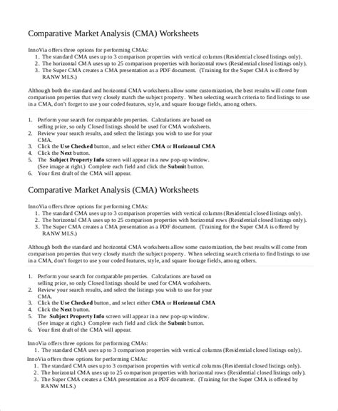 9 Comparative Market Analysis Sles Sle Templates Comparative Market Analysis Template