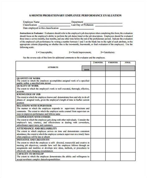 Probation Evaluation Letter doc 637900 performance evaluation form performance
